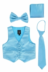 Little Gents 738 Aqua Satin Vest w/ Zipper Tie Bowtie & Hanky