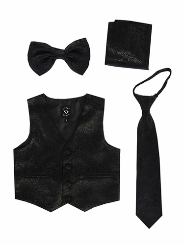 Little Gents 738 Black Paisley Satin Vest w/ Zipper Tie Bowtie & Hanky
