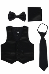 Little Gents 738 Black Satin Vest w/ Zipper Tie Bowtie & Hanky