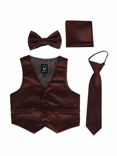 Little Gents 738 Brown Satin Vest w/ Zipper Tie Bowtie & Hanky