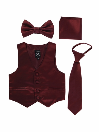Little Gents 738 Burgundy Satin Vest w/ Zipper Tie Bowtie & Hanky