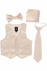 Little Gents 738 Champagne Satin Vest w/ Zipper Tie Bowtie & Hanky