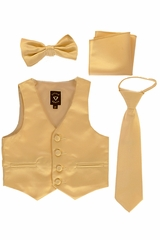 Little Gents 738 Gold Satin Vest w/ Zipper Tie Bowtie & Hanky