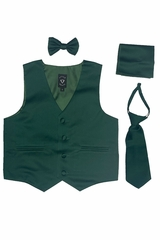 Little Gents 738 Hunter Green Satin Vest w/ Zipper Tie Bowtie & Hanky