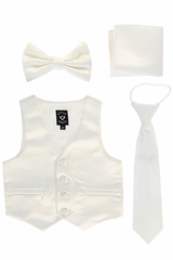 Little Gents 738 Ivory Satin Vest w/ Zipper Tie Bowtie & Hanky