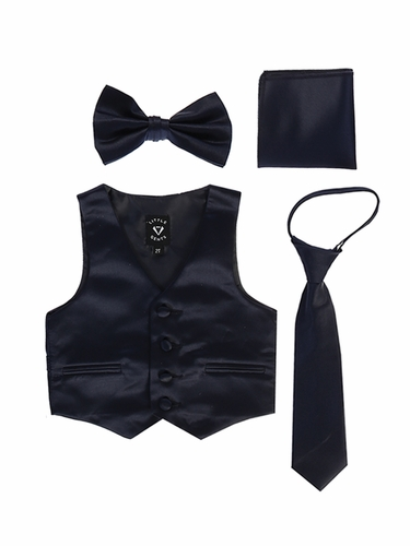 Little Gents 738 Navy Blue Satin Vest w/ Zipper Tie Bowtie & Hanky