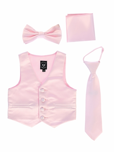 Little Gents 738 Pink Satin Vest w/ Zipper Tie Bowtie & Hanky