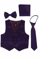 Little Gents 738 Purple Satin Vest w/ Zipper Tie Bowtie & Hanky