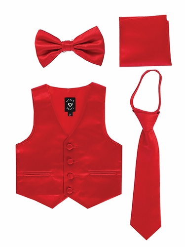 Little Gents 738 Red Satin Vest w/ Zipper Tie Bowtie & Hanky