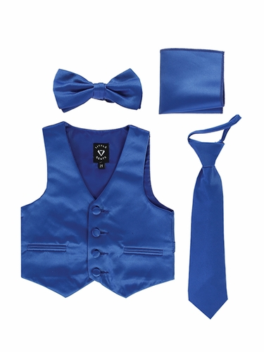 Little Gents 738 Royal Blue Satin Vest w/ Zipper Tie Bowtie & Hanky