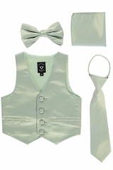 Little Gents 738 Sage Satin Vest w/ Zipper Tie Bowtie & Hanky