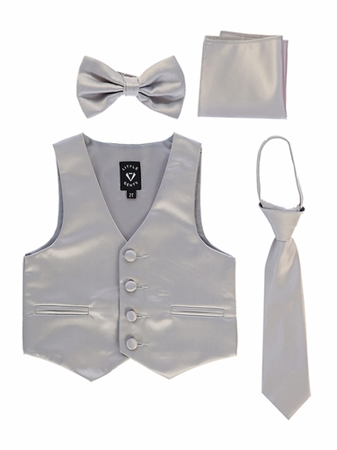 Little Gents 738 Silver Satin Vest w/ Zipper Tie Bowtie & Hanky