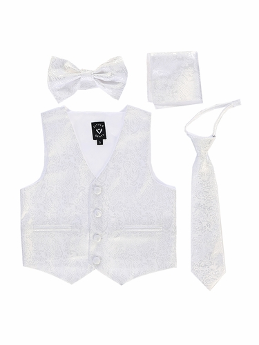 Little Gents 738 White Paisley Satin Vest w/ Zipper Tie Bowtie & Hanky