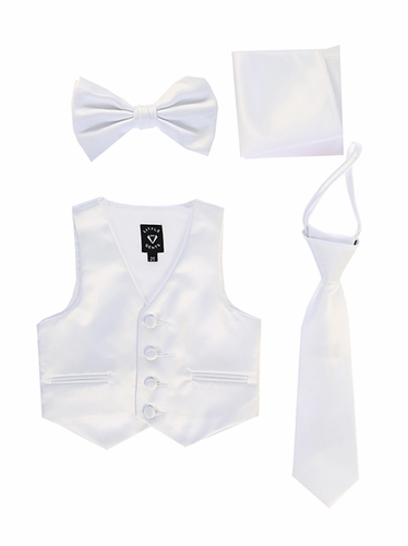 Little Gents 738 White Satin Vest w/ Zipper Tie Bowtie & Hanky