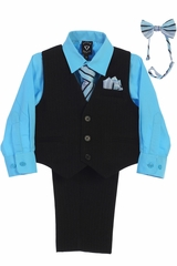Little Gents 8571 Black/Aqua Pin-Striped Vest & Pant 6PC Set