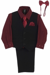 Little Gents 8571 Black/Burgundy Pin-Striped Vest & Pant 6PC Set