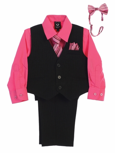 Little Gents 8571 Black/Fuchsia Pin-Striped Vest & Pant 6PC Set