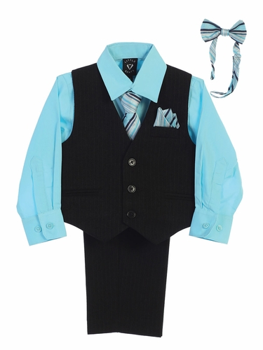 Little Gents 8571 Black/Hawaiian Blue Pin-Striped Vest & Pant 6PC Set