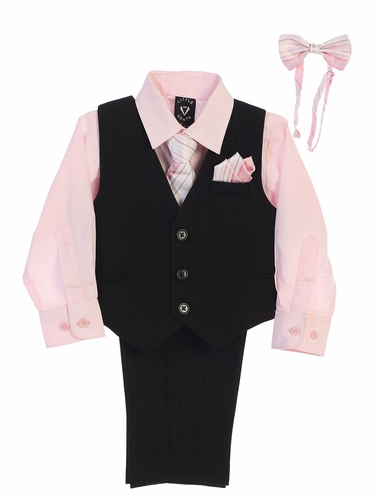 Little Gents 8571 Black/Pink Pin-Striped Vest & Pant 6PC Set
