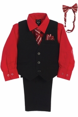 Little Gents 8571 Black/Red Pin-Striped Vest & Pant 6PC Set