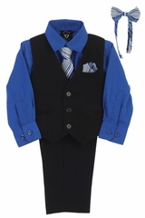 Little Gents 8571 Black/Royal Blue Pin-Striped Vest & Pant 6PC Set