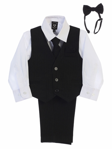 Little Gents 8571 Black/White Pin-Striped Vest & Pant 6PC Set