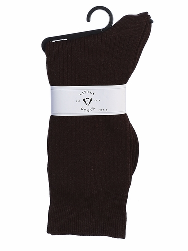 Little Gents Boys Brown 100% Nylon Socks