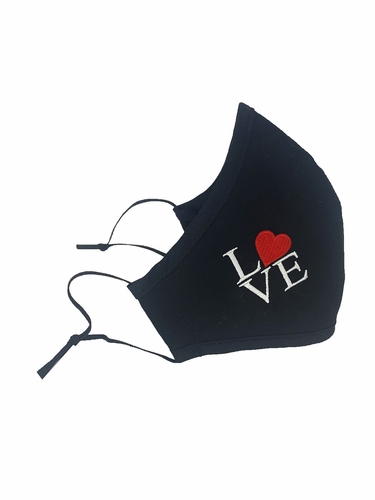 Love Embroidered 100% Cotton Face Shaped Mask