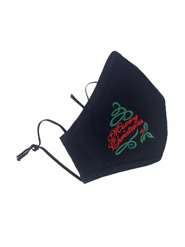 Merry Christmas Embroidered Black 100% 2-Ply Cotton Face Shaped Mask