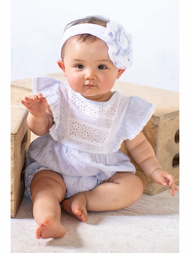 Mimi & Maggie 2483 Chambray Twin Stripes Babies Lisa Eyelet & Ruffle Front Romper