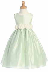 Mint/Ivory Shantung organza Dress with Detachable Flowered Sash