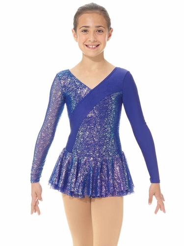 Mondor 00667 Sapphire Sparkly Dress w/ Shiny Mesh Inserts & Sleeve