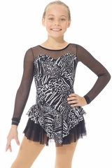 Mondor 00668 Black Sparkly Dress w/ Mesh Sleeves