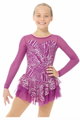 Mondor 00668 Magenta Sparkly Dress w/ Mesh Sleeves