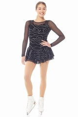 Mondor 12928 Glitter Velvet Dress w/ Mesh Sleeves