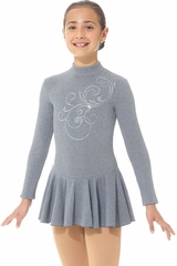 Mondor 24335 Heather Gray Born To Skate Thermal Dress w/ Glitter Applique