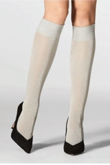 Mondor 5179 Pearl Gray Knee Highs w/ Lurex