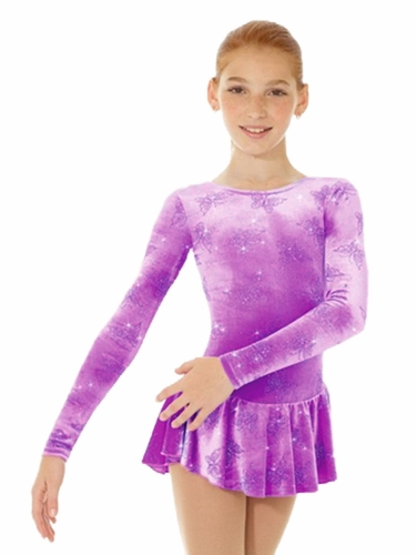 Mondor Butterfly Print Born To Skate Glitter Velvet Dress