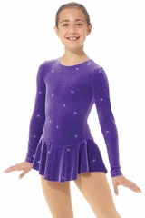 Mondor Purple Glitter Velvet Long Sleeve Dress