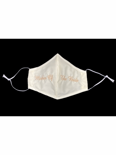 Mother of the Bride Champagne Embroidered Ivory Face Shaped Mask