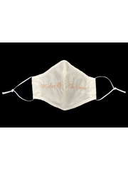 Mother of the Groom Champagne Embroidered Ivory Face Shaped Mask