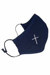 Navy Linen 2-Ply Face Shaped Mask w/ White Embroidered Cross