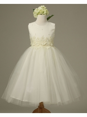 Off-White Cinderella Tulle Flower Girl Dress