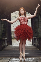 Ooh! La La! Couture FH1802 Red Lace Emma Dress