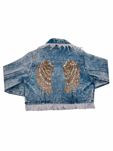 Ooh! La La! Couture FH1831 Denim Heart Wing Jacket