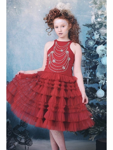 Ooh! La La! Couture FH1925 Ruby Red Necklace Dress