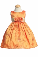 Orange Embroidered Taffeta w/ Rose Buds