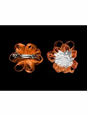 Orange Organza Hair Clip Set