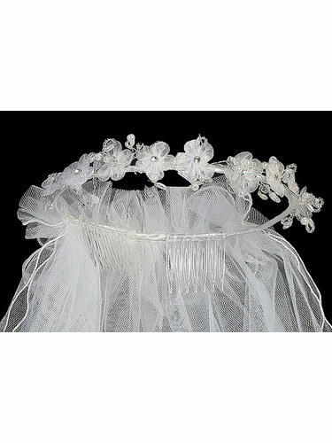 Organza Flowers w/Crystal & Pearl Accents & Satin Bow Crown w/Veil, Communion Veil