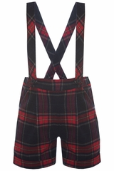 Patachou Boys Plaid Suspender Shorts